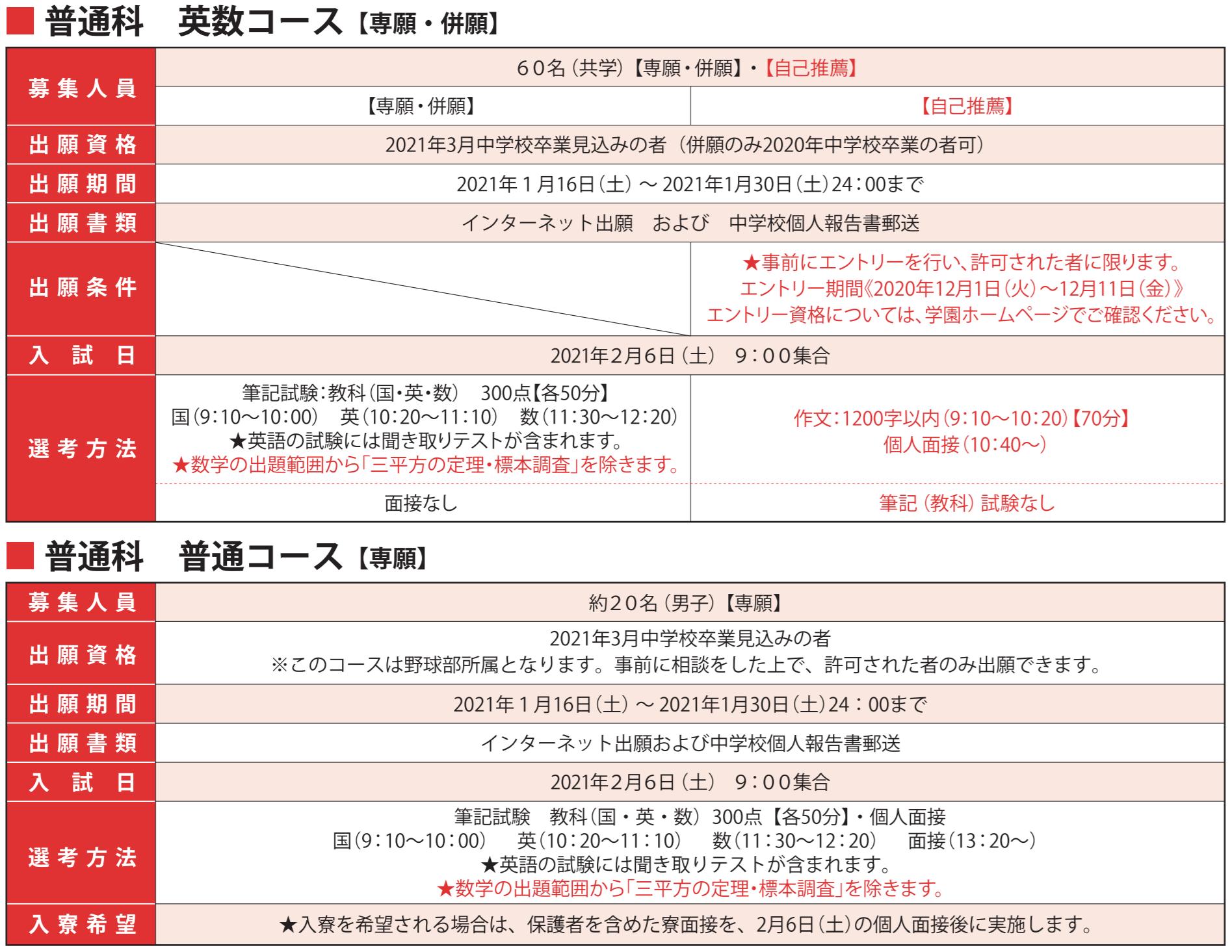 【高等学校】入試(専願・併願・自己推薦)の出願を受け付けています。